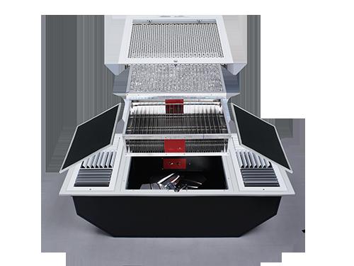 ภายในของเครื่องฟอกอากาศ แสดงถึงระบบกรองดักกำจัดฝุ่นด้วยไส้กรองหยาบ Pre-filter ตามด้วยระบบการจับฝุ่น แบบ EPS หรือ  electrostatic precipitator มีประสิทธิภาพการกำจัดเชื้อโรค และสามารถดักจับฝุ่นละอองขนาดเล็กในอากาศที่มีขนาดเล็กไม่เกิน 25 ไมครอน หรือ PM 2.5 ได้ดี และดักจับกลิ่นด้วย Activated Carbon ยี่ห้อ EST รุ่น RF1200