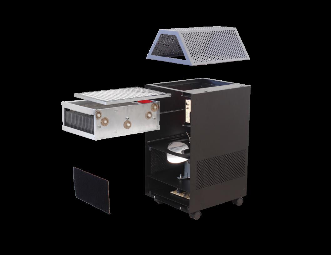 รายละเอียดภายในของเครื่องฟอกอากาศ มีล้อเคลื่อนย้ายได้ง่าย แสดงถึงระบบกรองดักกำจัดฝุ่นด้วยไส้กรองหยาบ Pre-filter ตามด้วยระบบการจับฝุ่น แบบ EPS หรือ  electrostatic precipitator จึงทำให้สามารถดักจับฝุ่นละอองขนาดเล็กในอากาศที่มีขนาดเล็กไม่เกิน 25 ไมครอน หรือ PM 2.5 ได้ดี และดักจับกลิ่นด้วย Activated Carbon ยี่ห้อ EST รุ่น RFmobile รุ่นย่อย RF1200M