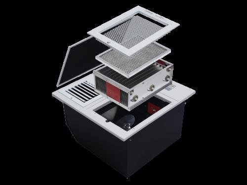ภายในของเครื่องฟอกอากาศ แสดงถึงระบบกรองดักกำจัดฝุ่นด้วยไส้กรองหยาบ Pre-filter ตามด้วยระบบการจับฝุ่น แบบ EPS หรือ  electrostatic precipitator มีประสิทธิภาพการกำจัดเชื้อโรค และสามารถดักจับฝุ่นละอองขนาดเล็กในอากาศที่มีขนาดเล็กไม่เกิน 25 ไมครอน หรือ PM 2.5 ได้ดี และดักจับกลิ่นด้วย Activated Carbon ยี่ห้อ EST รุ่น RF600